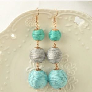 Beautiful Aqua threaded dangle earrings